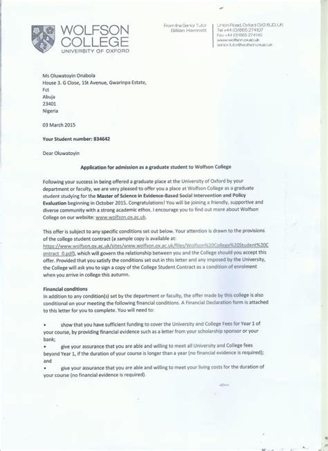 Student Finance Declaration Letter 9ja Zing Of Oxford Help Student Pay Graduate Fees