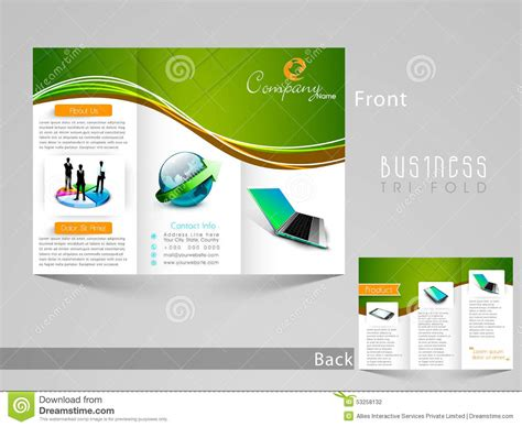 stylish tri fold template brochure or flyer design stock