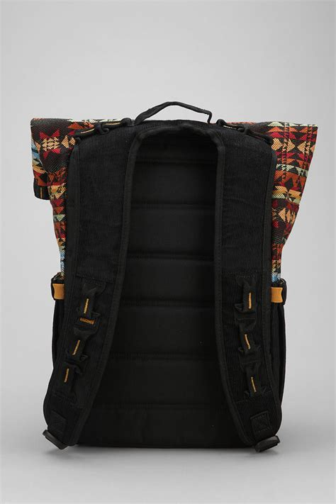 black pattern backpack urban outfitters focused space rolltop pattern backpack in
