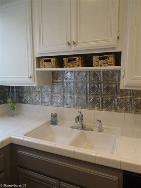 Gray Kitchen Backsplash | remodelaholic gray and white kitchen makeover with
