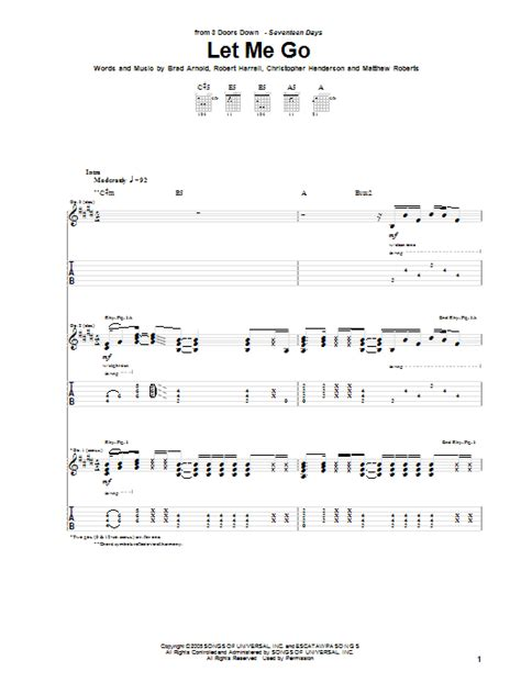 Let Me Go Three Doors by Let Me Go By 3 Doors Guitar Tab Guitar Instructor