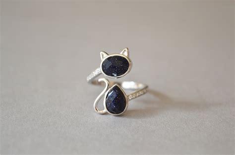 gemstone cat ring 925 sterling silver cat ring shining