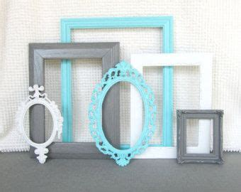 gray and tiffany blue bedroom turquoise aqua blue grey white vintage picture frames set of 6 upcycled frames w