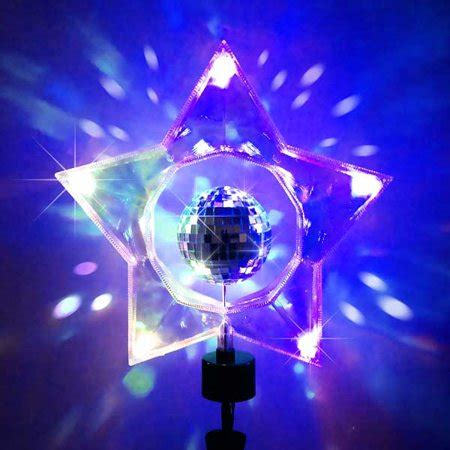 rotating christmas tree topper 14 quot rotating retro mirror disco clear tree topper walmart