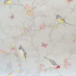 Home style bird holden decor phoebe dove grey wallpaper