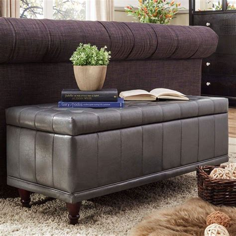 grey leather storage bench home decorators collection hamilton storage bench in distressed grey 9200410270 the