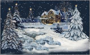 Animated winter snow scene with cabin in snow and fresh snow gently