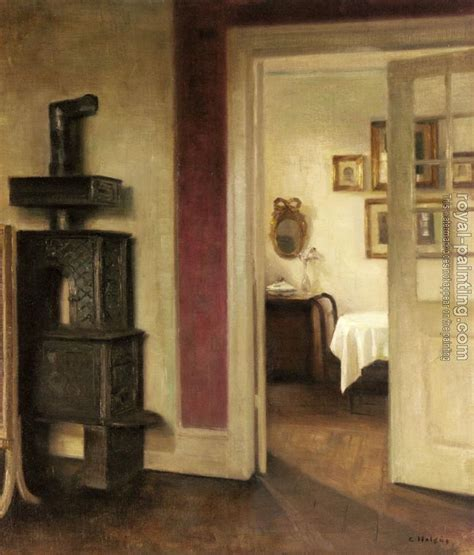 stove into room an interior with a stove and a view into a dining room by carl holsoe painting reproduction