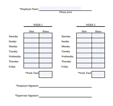 two week time card template 32 simple timesheet templates free sle exle