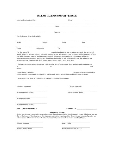 Louisiana Bill Of Sale Form Free Templates In Pdf Word Excel To Print Bill Of Sale Louisiana Template