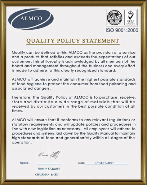 quality policy template fantastic quality policy template pictures inspiration