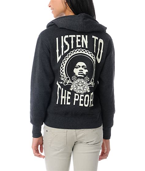 Hoodiezipper Obey obey listen to the charcoal zip up hoodie