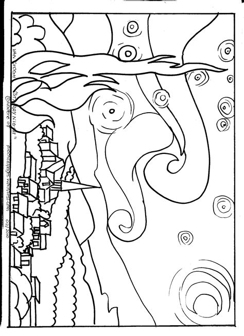 Van Gogh Starry Night Art Appreciation Practical Pages Artist Coloring Pages