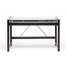 idabel brown wood modern desk with glass top desks computer cabinets hsn