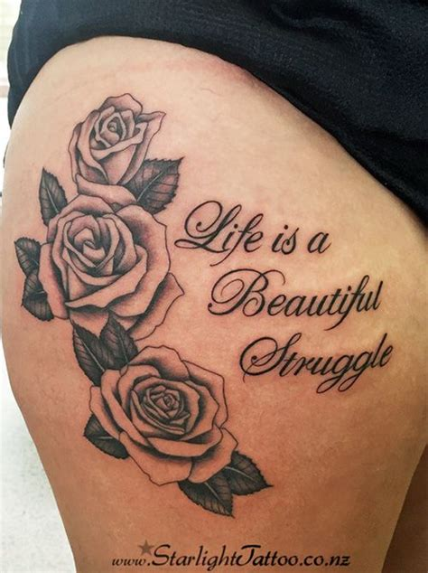 struggle tattoo designs traditional black outlined roses with writing
