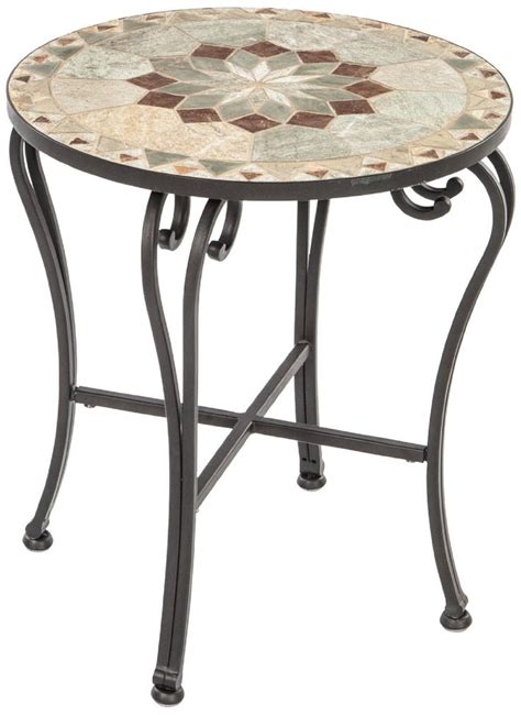 Mosaic Patio Table Alfresco Home Notre Dame Indoor Outdoor Marble Mosaic Side Table Patio Side