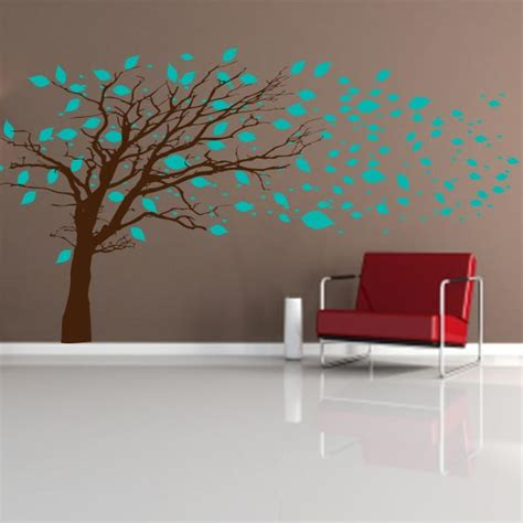 Leaves Wall Sticker tree blowing in the wind wall decal tree mural decal