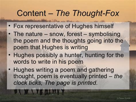 The Thought Fox Analysis Essay by Ted Hughes The Horses Essay Frankensteincoursework X Fc2