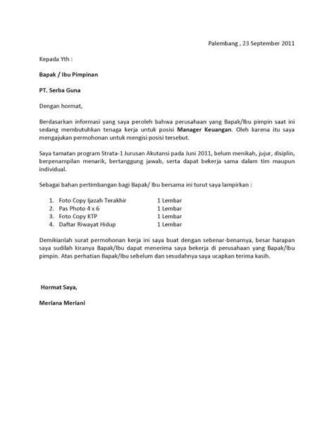 surat lamaran kerja fresh graduate bahasa indonesia contoh lamaran