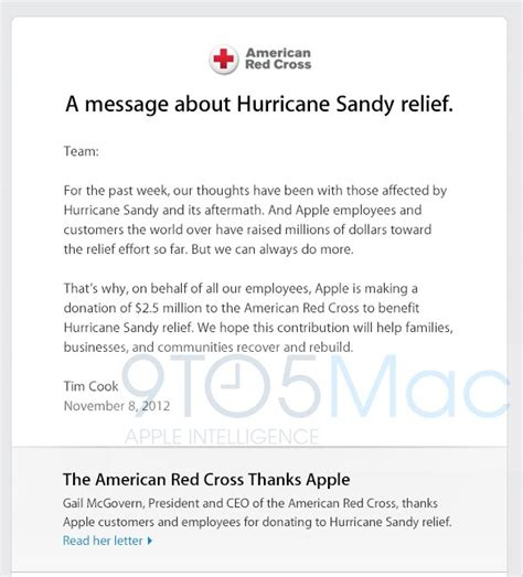 Donation Letter For Calamity Victims Apple Donates 2 5 Million To American Cross For Hurricane Relief Mac Rumors