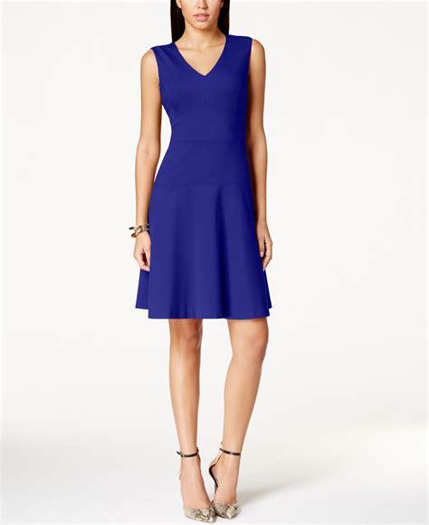 nine west v neck fit flare dress in blue lyst
