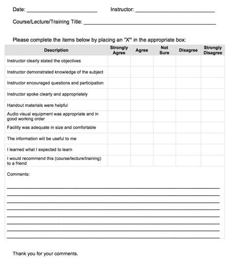 sle feedback form for instructors j crighton
