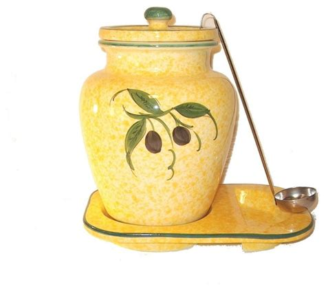 themed kitchen canisters 1 gallon ceramic olive themed container yellow