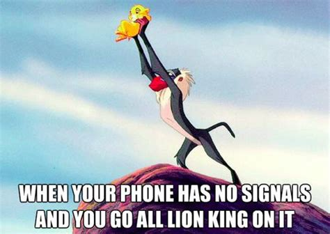 Lion King Cell Phone Meme - when your phone has no signal
