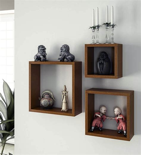 Home Wall Shelves Home Sparkle Wooden Cube Wall Shelves Set Of 3 By Home