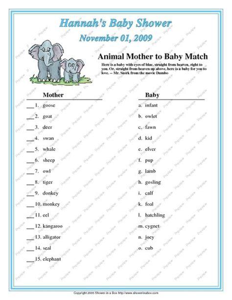 printable animal babies match game 25 worst baby shower games