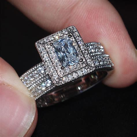 lady s viatage 10kt white gold filled square birthstone cz