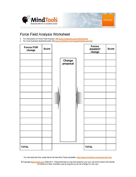field analysis template mindtools provides a field analysis template to
