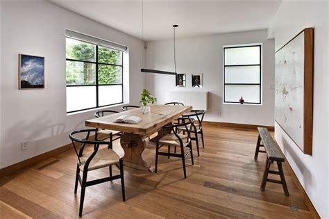 dining room  hans wegner wishbone chairs  black  oak dining space   oak