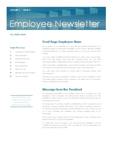 staff newsletter template employee newsletter sle 11 top risks of employee