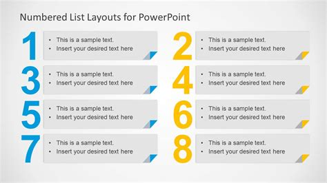 numbered list layout template for powerpoint slidemodel
