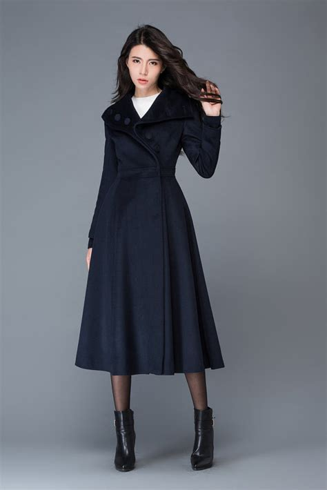 womens winter swing coats navy blue coat winter coat swing coat long coat warm coat