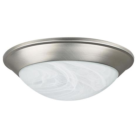 Satin Nickel Ceiling Light Fixtures Green Matters 2 Light Flush Mount Brushed Nickel Dome Fixture Hd 462 The Home Depot