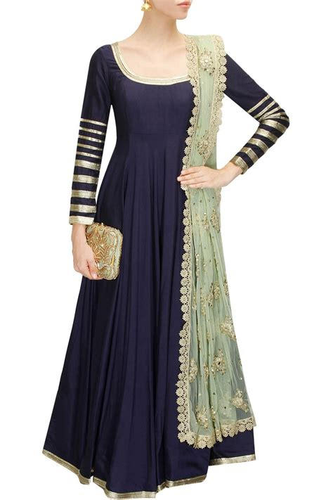 fashion design ladies suit navy blue embroidered anarkali suit available only at