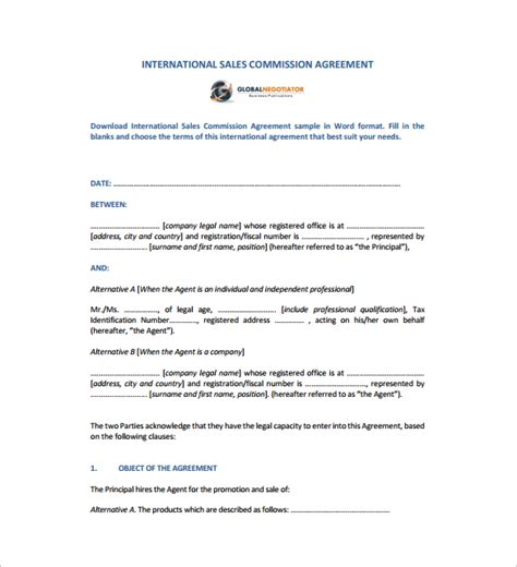 International Sales Commission Agreement Template Sales Agreement 10 Download Free Documents In Word Pdf