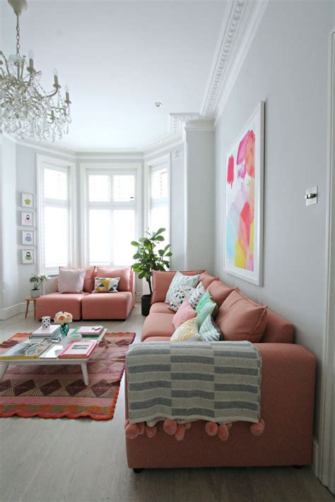 Pink Sofa Living Room Littlebigbell How To Style A Pink Sofa My Coral Pink Sofa From Dfs