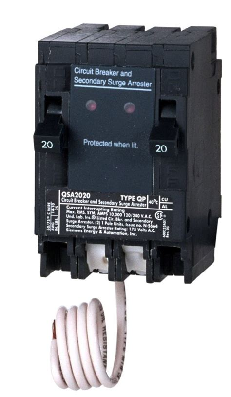 integration circuit breaker siemens qsa2020spd whole house surge protection with two 20 circuit breakers for use only on