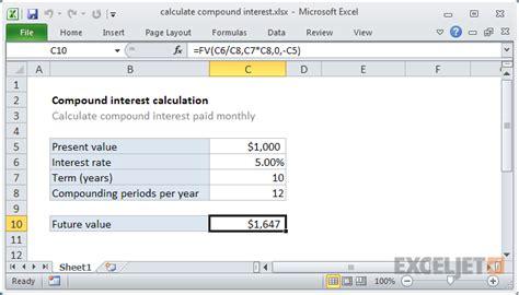 Excel Formula Calculate Compound Interest Exceljet Compound Interest Excel Template