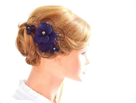 Wedding Hair Accessories Navy by Bridal Hair Comb Floral Headpiece In Navy Bridesmaid