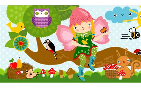 bordure kinderzimmer wald kinderzimmer bord 252 re fr 246 hlicher wald mit elfen miyo mori