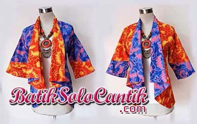Tunic Batik Sogan Kerah Balik Terbaru cardigan batik bolak balik terbaru baju kerja batik