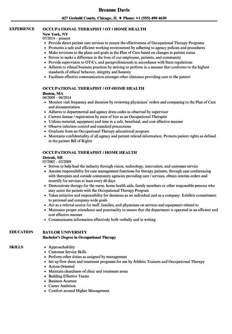 Occupational Safety Resume by Therapist Occupational Resume Sles Velvet