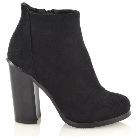 new block mid high heel chunky booties womens ankle