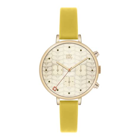 orla kiely womens yellow thin chrono ok2038