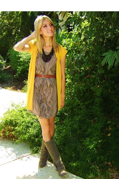 brown boots yellow cardigans brown dresses brown belts