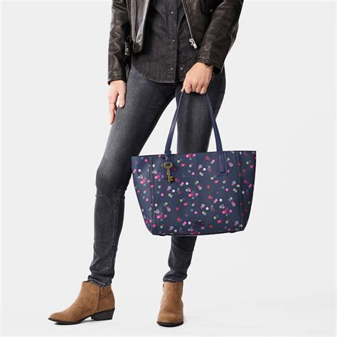 Fossil Ema Satchel Navy Dot tote fossil